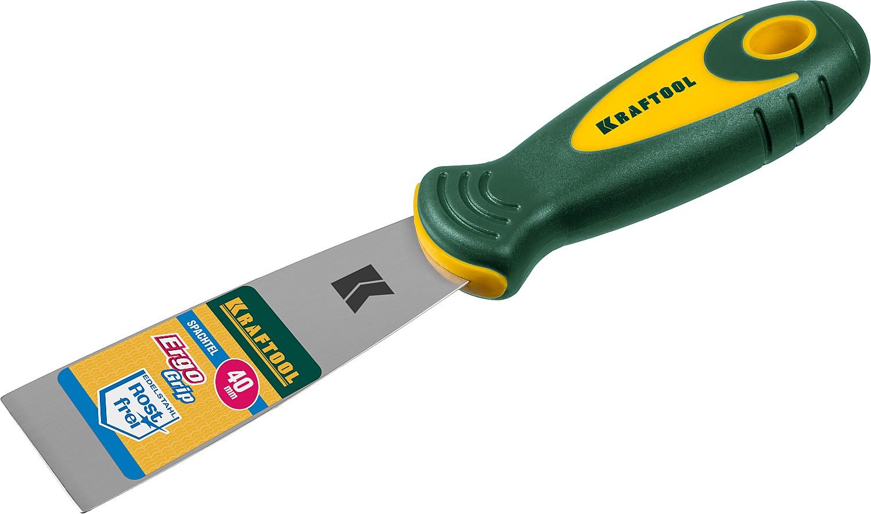 Шпательная лопатка 40мм с 2-компон.ручкой, профилиров. нержав.полотно KRAFTOOL - фото