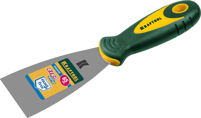 Шпательная лопатка 65мм с 2-компон.ручкой, профилиров. нержав.полотно KRAFTOOL - фото