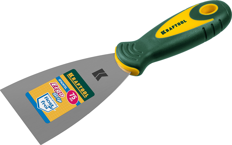 Шпательная лопатка 75мм с 2-компон.ручкой, профилиров. нержав.полотно KRAFTOOL - фото