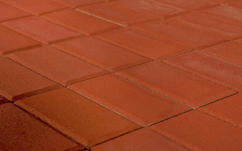 Тротуарная плитка Прямоугольник BRAER красный 200х100х40мм - фото