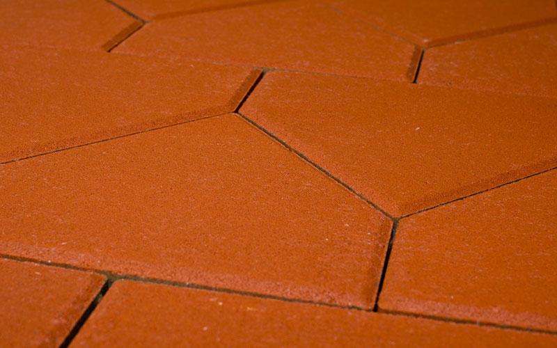 Тротуарная плитка Тиара Стандарт 60 мм BRAER красный 283х200мм - фото