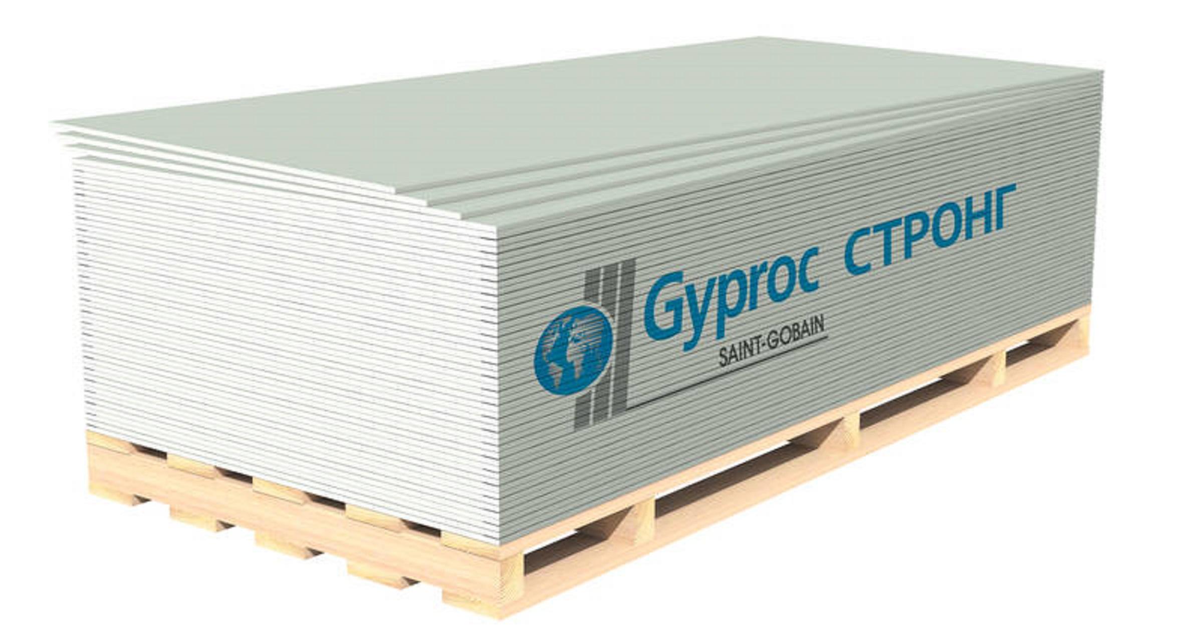 Гипсокартон GYPROC СТРОНГ 2500*1200*15 мм (Утонённая кромка) - фото