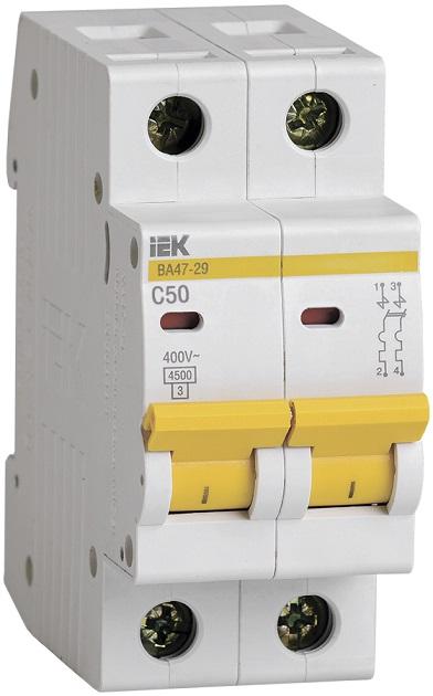 Автоматический выключатель ВА47-29 2Р 50А С ИЭК - фото