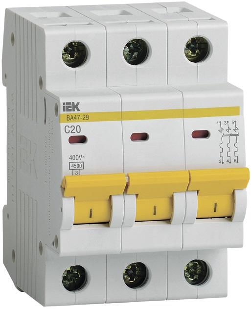 Автоматический выключатель ВА47-29 3Р 20А С ИЭК - фото