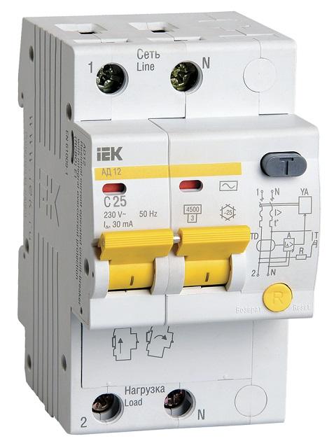 Дифференциальный автоматический выключатель (АД) 2Р 25А 30мА IEK - фото