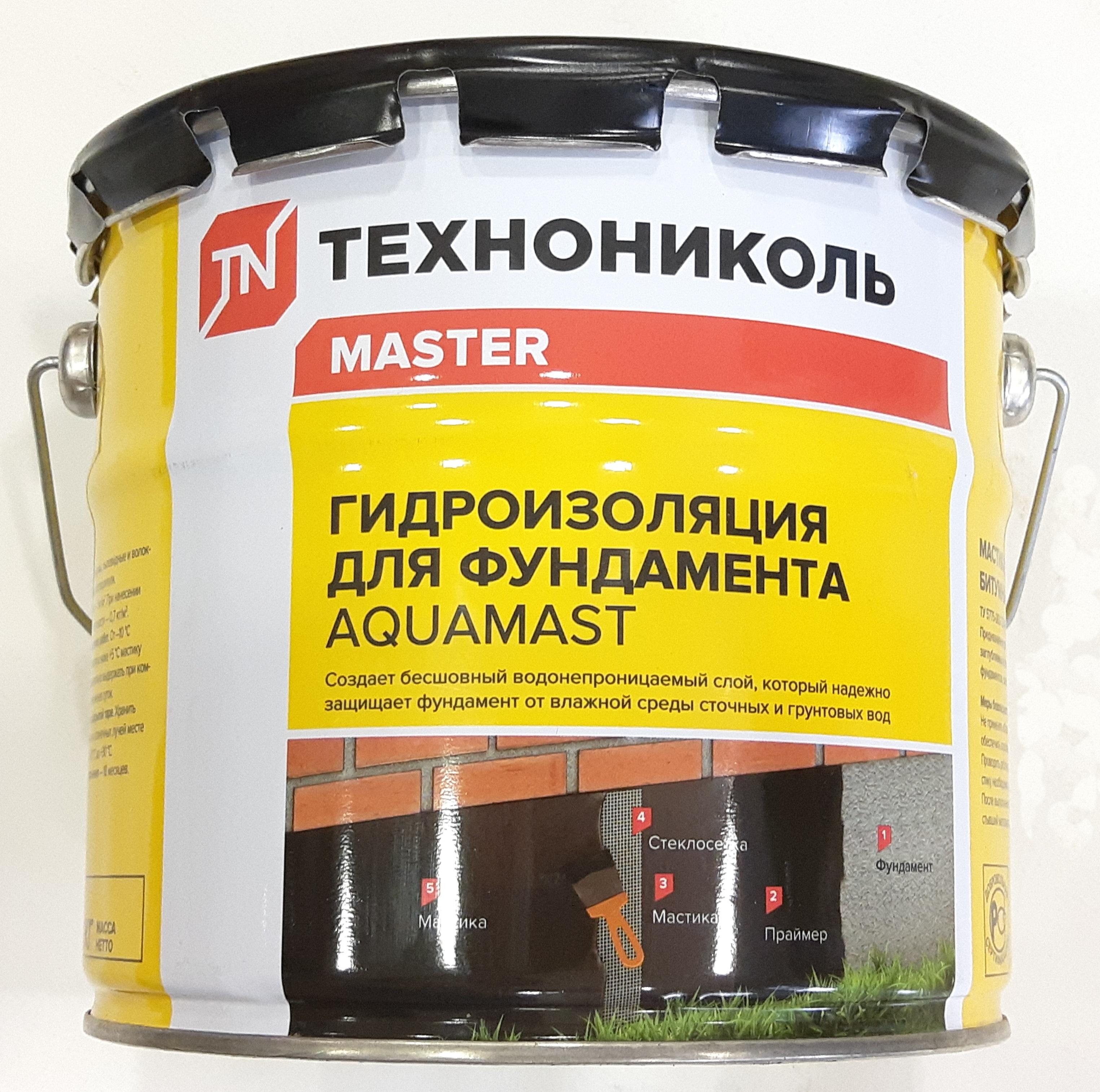Мастика битумная Технониколь AguaMast 18 кг (для фундамента) - фото