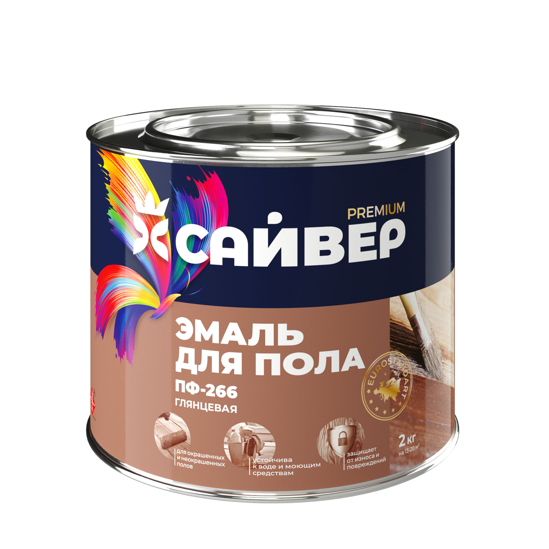 Эмаль Сайвер ПФ-266 для пола (золотисто-коричневая) 5кг - фото