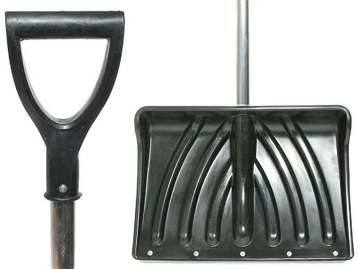 Лопата снеговая 465*340 КРЕПЫШок цветная оцинк.планка, алюм.черенок - фото