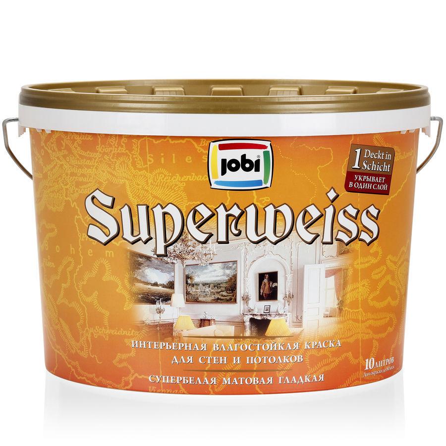 Краска влагостойкая Jobi SUPERWEISS L3 10л - фото