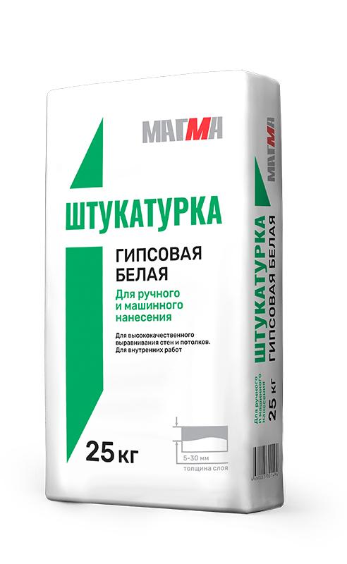 Штукатурка МАГМА гипсовая белая (ручное и маш.нанесение) 25кг - фото